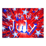 Firework Red White Blue '4th of July' party 5x7 Paper Invitation Card