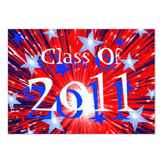 Firework Red White Blue 'Class of 2011' party 13 Cm X 18 Cm Invitation Card