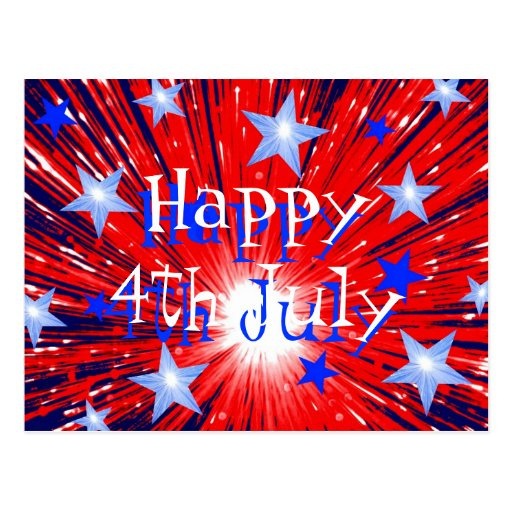 Firework Red White Blue 'Happy 4th July' postcard