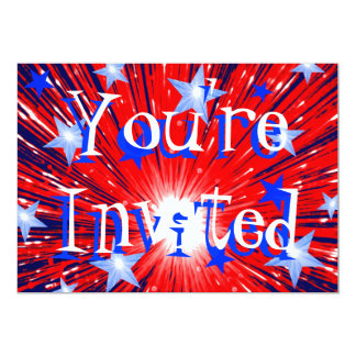 "Firework Red White Blue 'Party'  invitation 5"" X 7"" Invitation Card"