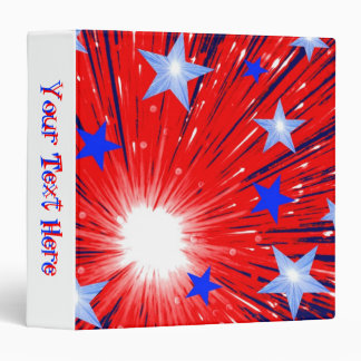 Firework Red White Blue 'Your Text' binder white