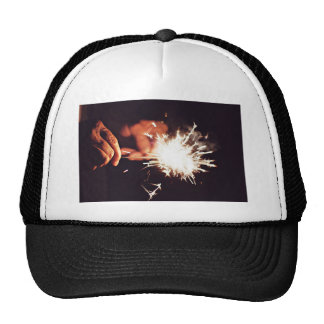 Firework Themed, A Man Lighting Another Sparkler W Trucker Hat