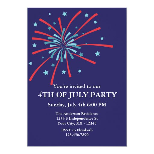 """Fireworks 4th of July Party Invitation 5"""" X 7"""" Invitation Card"""