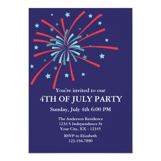 fireworks 4th of july party invitation zazzle com
