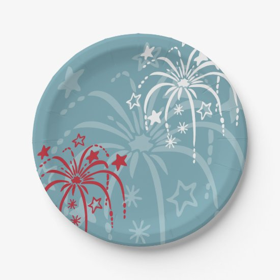 Fireworks 4th of July Party Paper Plate