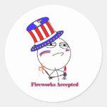 Fireworks Accepted! Round Sticker