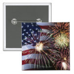 Fireworks and American flag 2 Inch Square Button