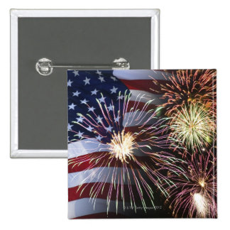Fireworks and American flag Button