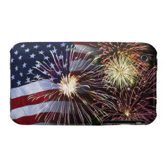 Fireworks and American flag iPhone 3 Case
