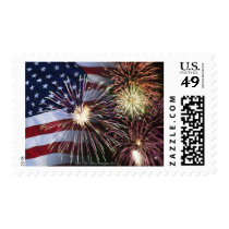 Fireworks and American flag Postage