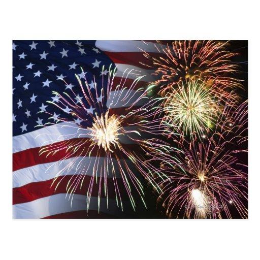 Fireworks and American flag Postcard