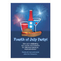 """Fireworks and Food 4th of July Invitation 4.5"""" X 6.25"""" Invitation Card"""