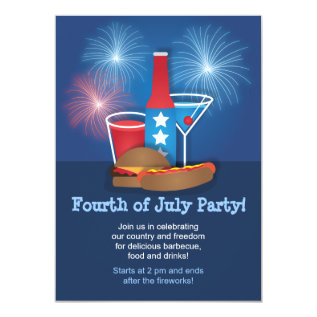 Fireworks And Food 4th Of July Invitation at Zazzle