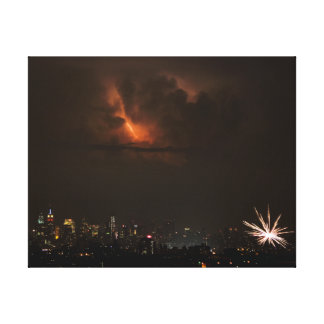 Fireworks And Lightning in NYC Canvas Print
