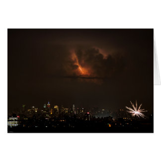 Fireworks And Lightning in NYC Card