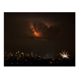 Fireworks And Lightning in NYC Postcard