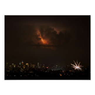 Fireworks And Lightning in NYC Poster