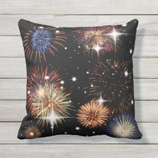 Fireworks and Stars Decorative Pillow