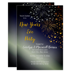 New years eve invitations zazzle fireworks and stars night sky new years eve party invitation stopboris Choice Image