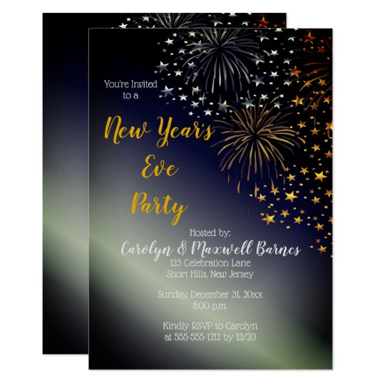 Fireworks And Stars Night Sky New Year S Eve Party Invitation