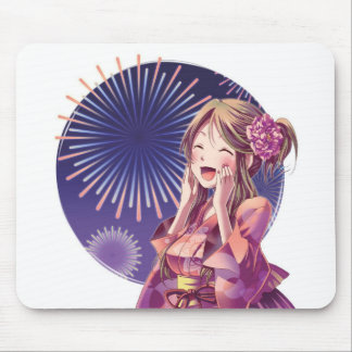 Fireworks Anime Girl Mouse Pad