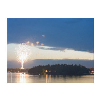 Fireworks at Dusk over Gull Lake Canvas Print