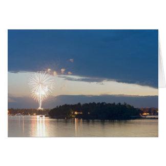 Fireworks at Dusk over Gull Lake Card