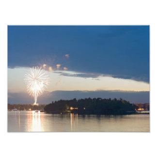 Fireworks at Dusk over Gull Lake Photo Print