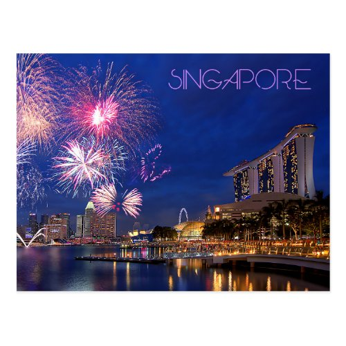 Fireworks at Marina Bay Singapore Postcard