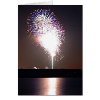 Fireworks At Night Over River Card