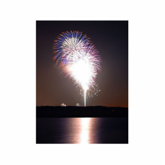 Fireworks At Night Over River Standing Photo Sculpture