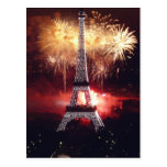Fireworks at the Eiffel Tower - Paris, France Postcard