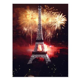 Fireworks at the Eiffel Tower - Paris, France Postcard