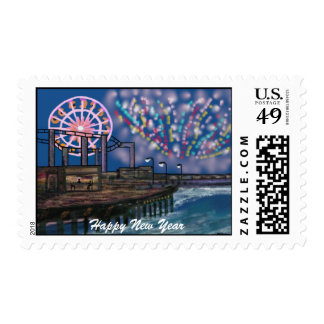 Fireworks at the Pier New Year Postage Stamps