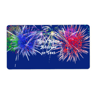 Fireworks Background Shipping Label