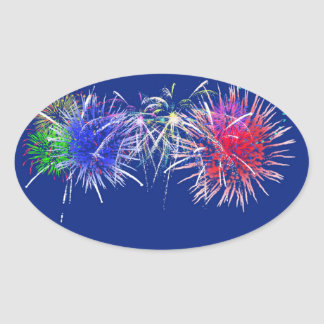 Fireworks Background Oval Sticker