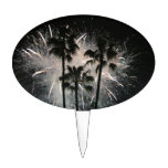 Fireworks behind palm  trees cake toppers