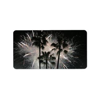 Fireworks behind palm  trees custom address label