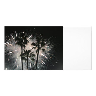 Fireworks behind palm  trees custom photo card
