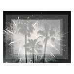 Fireworks behind palm  trees customized letterhead