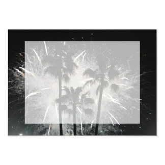Fireworks behind palm  trees 5x7 paper invitation card
