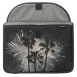 Fireworks behind palm  trees sleeve for MacBook pro