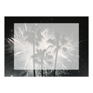 Fireworks behind palm  trees personalized invites