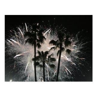 Fireworks behind palm  trees postcard