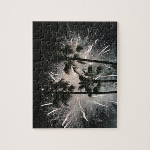 Fireworks behind palm  trees puzzle