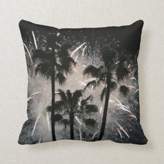 Fireworks behind palm  trees throw pillow