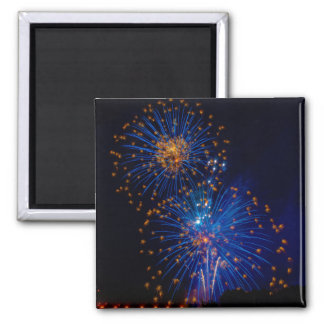 Fireworks blue and orange magnet