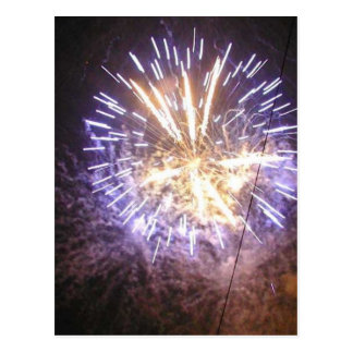 Fireworks Blue On Sky Post Card
