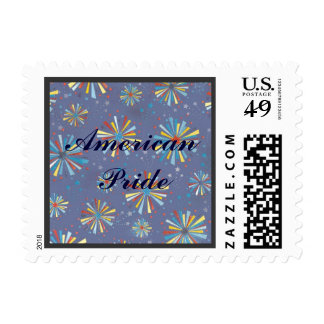 Fireworks Bursts Anniversary or Wedding USA Pride Postage Stamp