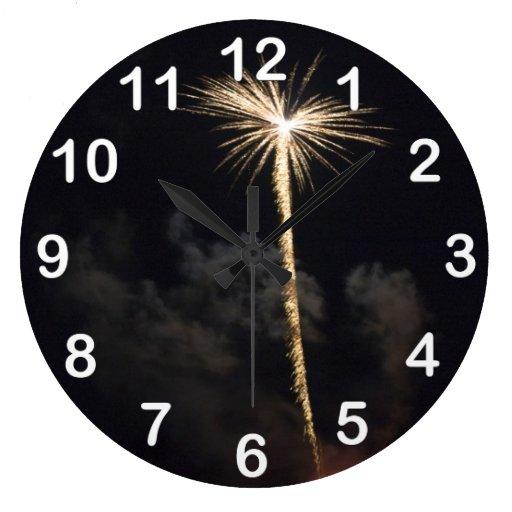 Fireworks Celebration at Night Clock